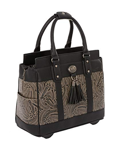 THE DALLAS Black & Grey Tooled Rolling iPad Tablet or Laptop Tote Carryall Bag (15.6, 17'/17.3' inch)