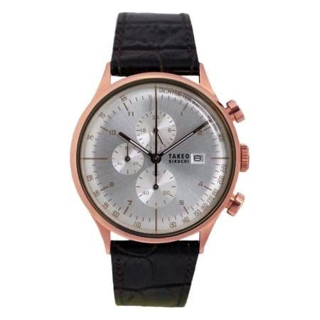 TAKEO KIKUCHI タケオキクチ 腕時計 クロノグラフ シルバー×ピンクゴールド TK27G8-14 (並行輸入品)