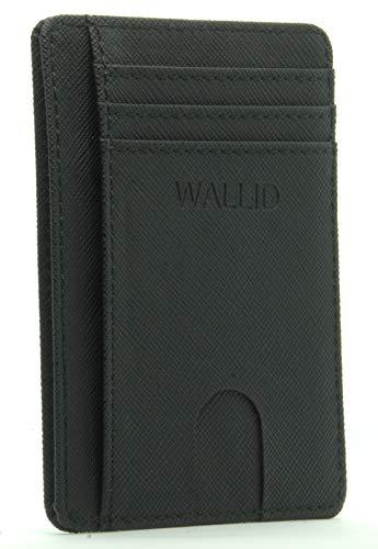 WALLID Porta Carte Credito slim con Protezione rfid -Portafoglio Uomo Piccolo Sottile - Portatessere schermato minimalista - Nero (8 Carte, 11x8x0,5 cm)