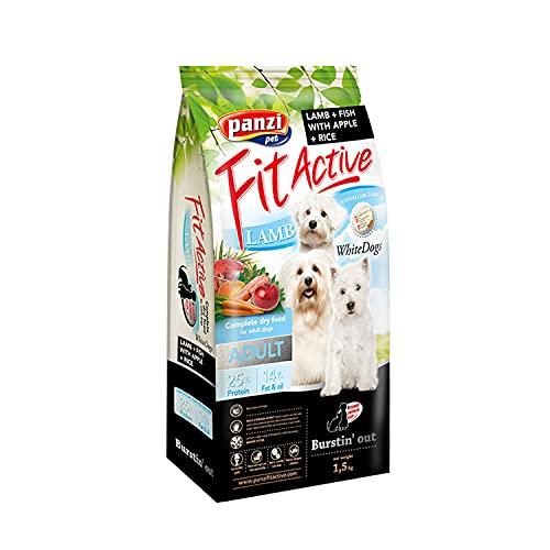 PANZI Saco Perro Perros Blancos Cordero, Manzana, Arroz, Pescado, 1,5 kg, Perro