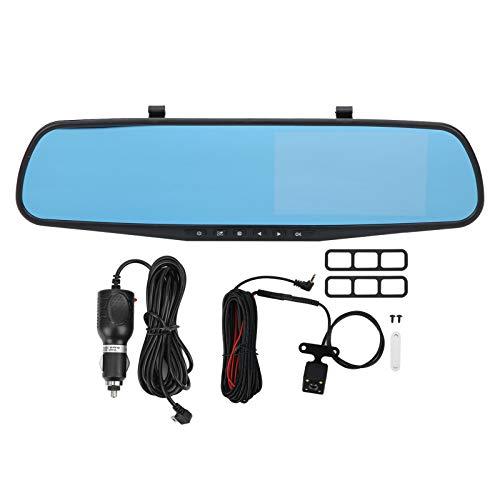 Grabador de bucle con sensor G de 4,3 pulgadas DVR de coche 1080P Grabadora de conducción gran angular de 170 ° con doble lente para grabación de 24 horas