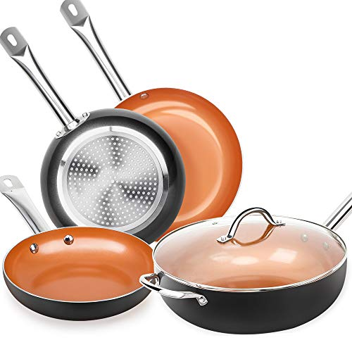 SHINEURI 6 Pieces Copper Cookware Set - 12 inch Nonstick Woks and...