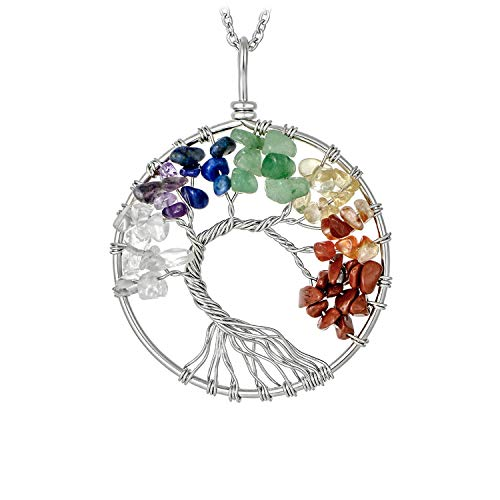 Silver Plated 7 Chakra Tree of Life Pendant Necklace Family Tree Root Multicolor Rainbow Handmade Gemstone Necklace for Women Girls (Rainbow Color Stone Necklace)