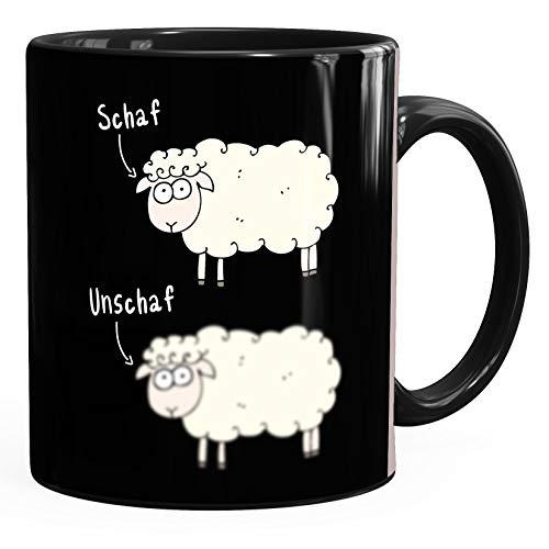 MoonWorks® Kaffee-Tasse mit Spruch Schaf Unschaf Witz Wortspiel Bürotasse Tiermotive lustige Kaffeebecher schwarz Keramik-Tasse