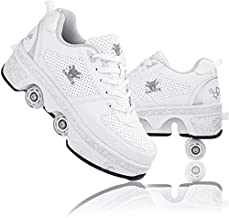 CHSSIH Roller Skates for Women Outdoor,Parkour Shoes with Wheels for Girls/Boys,Kick Rollers Shoes Retractable Adults/Kids,Quad Roller Skates Men,Unisex Skating Shoes Recreation Sneakers,White4-8US
