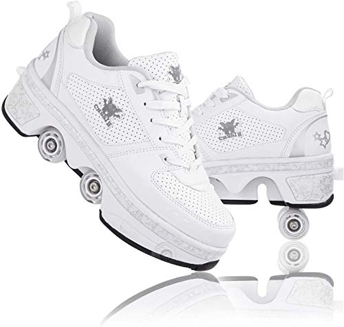 CHSSIH Roller Skates for Women Outdoor,Parkour Shoes with Wheels for Girls/Boys,Kick Rollers Shoes Retractable Adults/Kids,Quad Roller Skates Men,Unisex Skating Shoes Recreation Sneakers,White4-5.5US