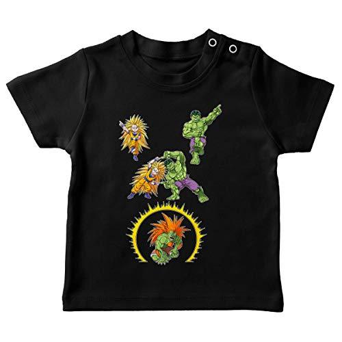 Okiwoki T-Shirt bébé Noir Parodie DBZ - Street Fighter - Hulk - Sangoku, Hulk et Blanka - Fusion bestiale !! (T-Shirt de qualité Premium de Taille 18 Mois - imprimé en France)