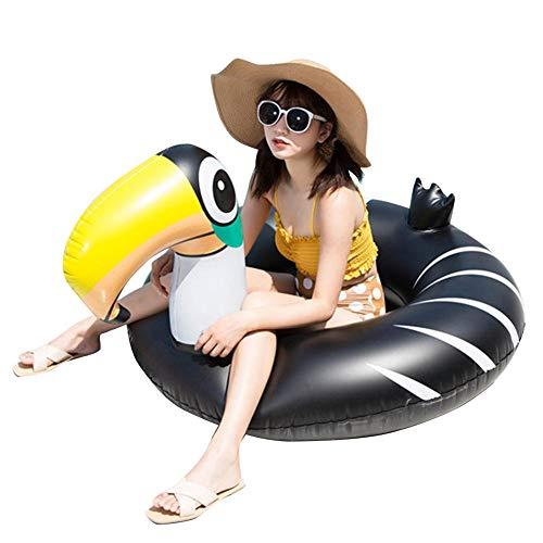 cheerfulus Flotador Inflable Negro de la Piscina del tucán, Anillo de la natación del Agua del Anillo de la natación de la Playa de la Silla Flotante portátil de la Piscina para los niños