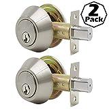 Gobrico 2 Keyed Alike Double Cylinder Deadbolts Door Locks, Satin Nickel