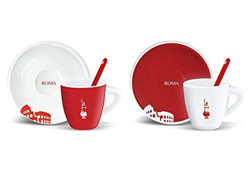 Bialetti – Juego de 2 tazas de café + platos y cucharillas, diseño de Roma