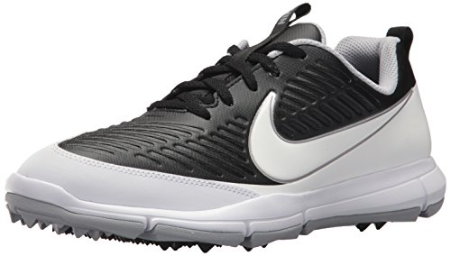 NIKE Men's Explorer 2 Golf Shoe, Black/White/Metallic Silver/Wolf Grey, 11 M US