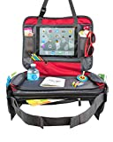 BE Family Travel - Kids Car Seat Toddler Travel Tray with Unique Fold-in No Need to Unload Again Side Pockets with Zipper RED Lap Play Snack Tray