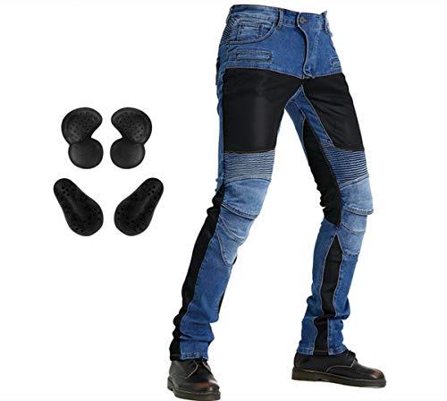 Jeans da motociclista con protezione per ginocchio rimovibile e protezione per fianchi, per corse e ciclismo, pantaloni da uomo (blu XXL)