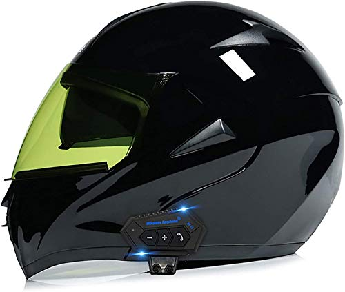 Feeyond Casco Bluetooth para motocicleta, modular tipo flip-tipo doble visera completa, casco certificado DOT, sistema integrado de comunicación de intercomunicación integrado Mp3 FM Broadcast, H, L
