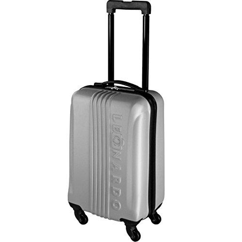 Leonardo Koffer Reisekoffer Trolley Koffer Handgepäck Boardcase (Silber)