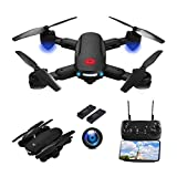 Twister.CK Drone with Camera 720P HD for Adults, RC Foldable Quadcopter Drone WiFi FPV Live Video, Altitude Hold, Headless Mode, Gesture Control for Kids with 2 Batteries.
