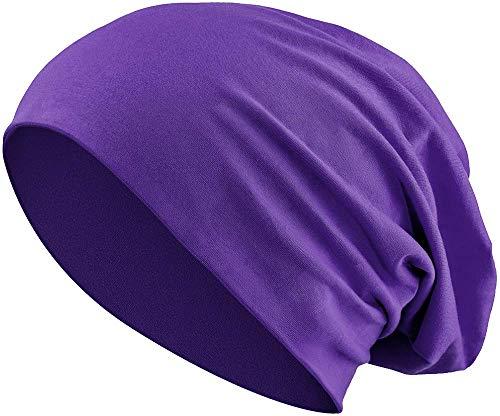 Balinco Jersey Baumwolle elastisches Long Slouch Beanie Unisex Mütze Heather in 35 (3) (Purple)