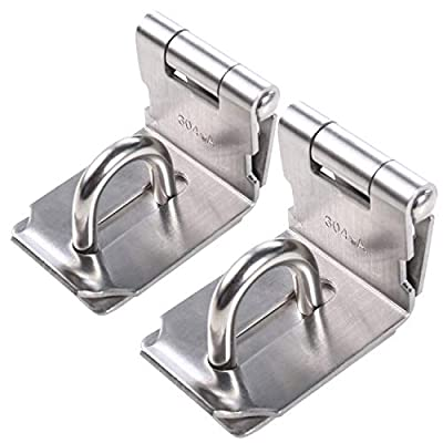 HWMATE Stainless Steel Door Hasp Latch 90 Degree Locking Latch Brushed (2 Pack)