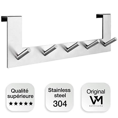 VMbathrooms Qualité Supérieure Porte manteau pour porte - Patère à suspendre avec conception unique des crochets - porte manteau serviettes sorties-de-bain - pour portes standard jusqu'à 2,1 cm