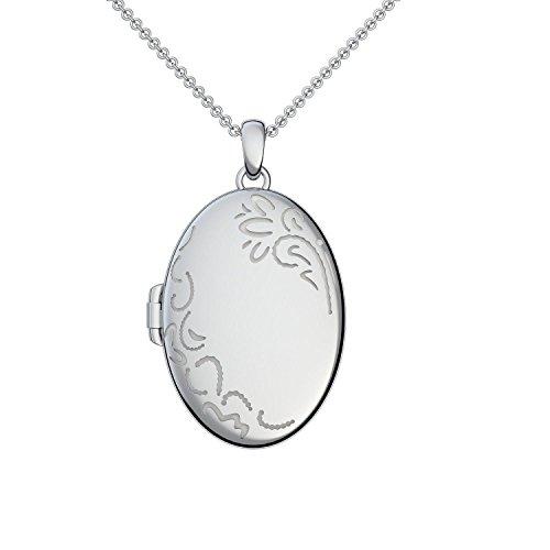 Medaillon oval groß Silber 925 Etui Amulett antik Vintage (Medalion, Medallion) Damen Hals-Kette zum Öffnen antik, aufklappen Anhänger aufklappbar mit Kette für Foto Kette FF103 SS92545