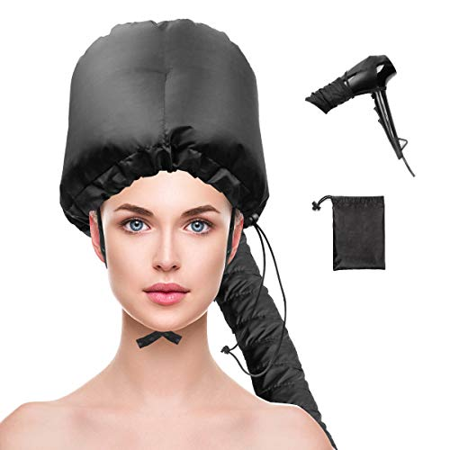 Bonnet Hood Hair Dryer Attachment, Adjustable Extra Large Hooded Bonnet for Hand Held Hair Dryer with Stretchable Grip and Extended Hose Length