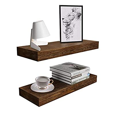 BAMFOX Floating Wall Shelf Set of 2,Natural Bamboo Wall Decor Storage Shelf?Wall Mount Display Rack for Kitchen, Bedroom, Bathroom, Living Room, Office and More