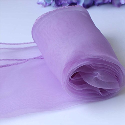 SARVAM FASHION 12' x 108' in Organza Table Runners for Wedding Reception or Party Decoration (10, Lavender)