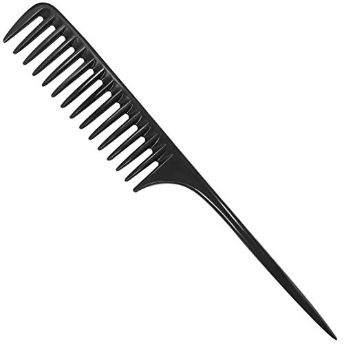 Wapodeai Wide Tooth Comb Detangling Hair Brush, Professional Styling Comb Black Carbon Fiber, Anti Static Heat Resistant Hair Comb, Suitable for all Kinds of Hair.