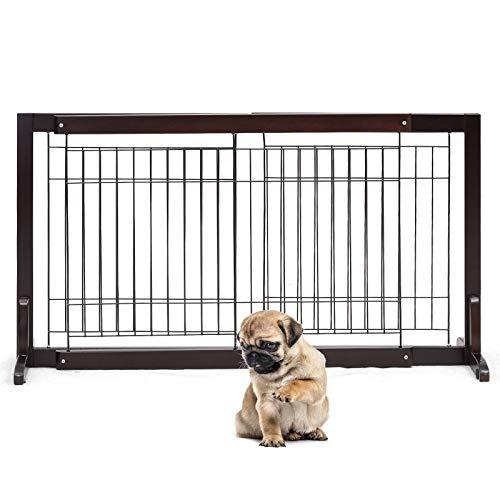DREAMADE Cancello per Animali Domestici in Legno, Cancelletto di Sicurezza Estendibile, Regolabile, per Cani e Bambini, (161-97) x53x32 cm