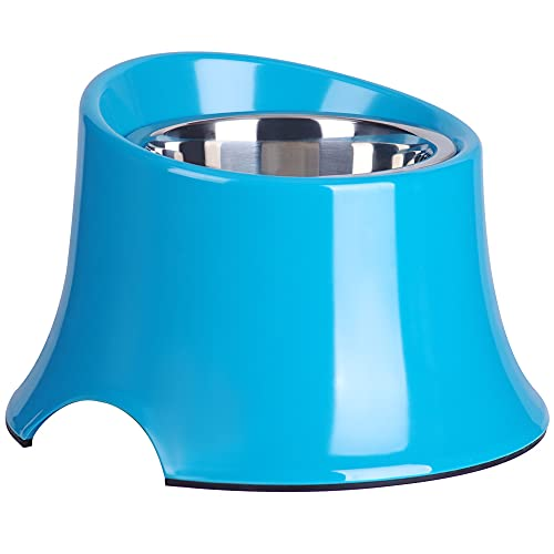 Super Design Elevated Dog Bowl Raised Dog Feeder for Food and Water M Blue