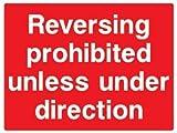 Pegatinas de Advertencia Autoadhesivas para señal de Seguridad de Marcha atrás prohibida a Menos Que esté bajo dirección, 21 x 29,7 cm