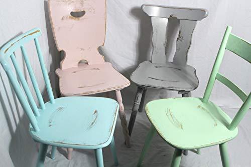 4x Shabby Stuhl alter Holzstuhl/Stuhl/Bauernstuhl/Küchenstuhl/Esszimmerstuhl bunt 60er Jahre Landhaus Vintage Shabby Chic Möbel 4er Set