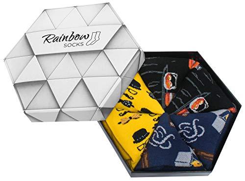 Rainbow Socks - Hombre Calcetines Caballero Regalo - 3 Pares - Talla 41-46