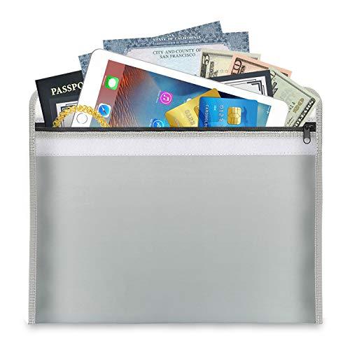 Vuurvaste documententas 38 x 28 cm | brandwerende waterdichte tas hoes zak voor A4 documenten Passport Bankbestand geld waardevolle spullen | van hoogwaardig silicone glasvezel
