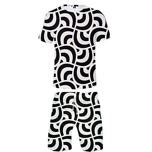 Verano Unisex 3D Camiseta Estampada Divertida Camisetas de Manga Corta y Pantalones Cortos de Natación Troncos de Playa Pantalones de Gimnasio de Surf con Cordón para Vacaciones(Blanco 9,XXL)
