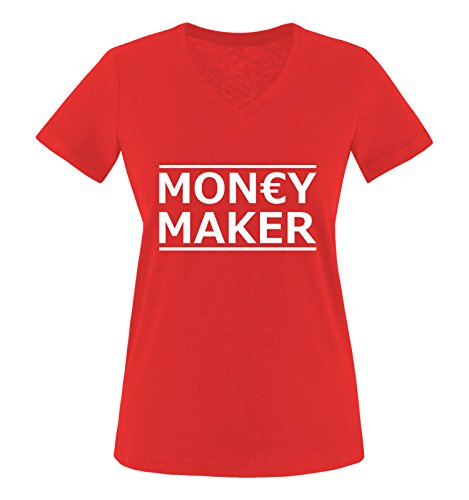 Comedy Shirts - Money Maker - Damen V-Neck T-Shirt - Rot/Weiss Gr. XL
