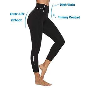 JOYSPELS High Waist Yoga Pants with 2 Pockets – Fashion Safety Night Reflector Workout Leggings for Women