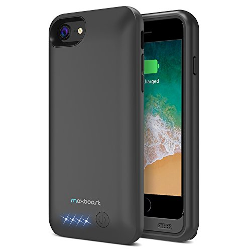 Maxboost [Atomic Power] 5000mAh Battery Case Compatible with iPhone 8 / iPhone 7 Battery Case, [Upgraded] Charger Rechargeable Extended Power Case for Apple iPhone 8 7 (Black)