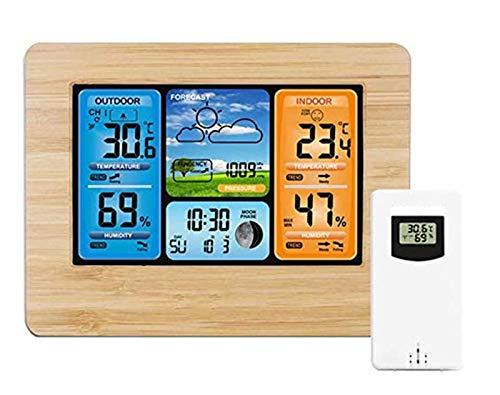 WUAZ Estación Meteorológica Inalámbrica con Sensor Exterior, Tiempo Relojes De Monitoreo con...