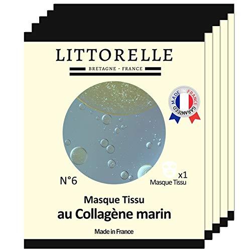 Littorelle - 5x Mascarilla Tejido Suero Hidratante con Colágeno y Vitamina E - Fabricada en Francia - Hidratante, Revitalizante, Anti-Arrugas y Anti-Envejecimiento- Máscara para Todos Tipos de Piel