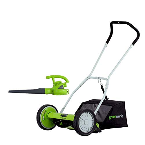 Greenworks 16-Inch Reel Lawn Mower with Grass...