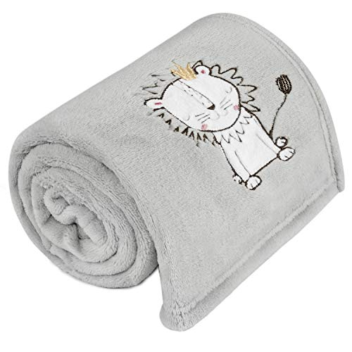 TILLYOU All Season Coral Fleece Plush Baby Blanket Lightweight Nursery Receiving Blanket for Swaddling Covering Cuddling Super Soft Warm and Fluffy Little Wrap Blanket Gray Lion 30x40