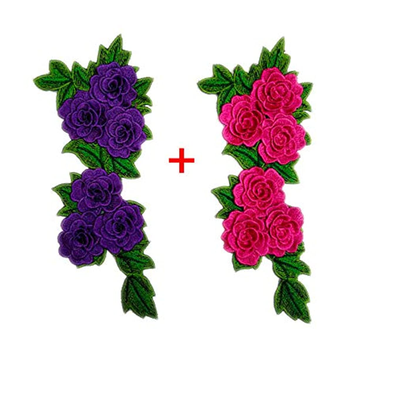 2 Pcs Roses Applique Embroidered Sewing On Patch Flower Patch Stickers for Clothes Badge Sewing Fabric Bag Jeans Applique Supplies (Purple+Pink)