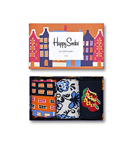 Happy Socks, bunt premium baumwolle Geschenkkarton 3 Paar Socken für Männer & Frauen, Dutch Edition Geschenkbox (36-40)