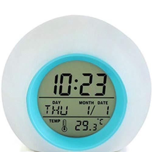 Reloj Despertador Digital Con 7 Colores Que Cambian La Luz Nocturna,XXL Con El Calendario De Temperatura,12/24 Hr Conmutable