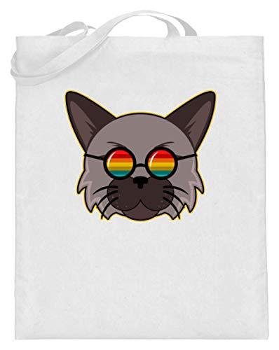 Bellissimo gatto con occhiali da sole arcobaleno Hippie – Design semplice e divertente – Sacchetto di iuta (con manici lunghi), Bianco (bianco), 38cm-42cm