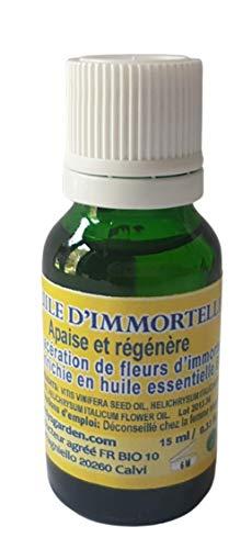 Huile d'Immortelle Corse 15ml. Prête à l'emploi, macérât de fleurs riche en Huile Essentielle d'Immortelle Bio