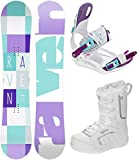 RAVEN Snowboard Set: Snowboard Laura + Bindung Starlet White/Blue/Violet + Boots Pearl (148cm + Starlet S + Boots Pearl 38 (24,5cm))