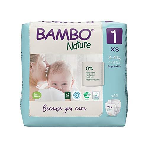 Bambo Nature Pañales ecológicos de primera calidad, tamaño 1 (4-9lb/2-4kg) paquete de 22