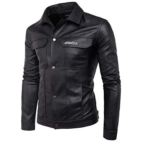 Herrenbekleidung Frühling Und Herbst Neue Herren Motorrad Leder Briefstickerei European Code Leder JackenmantelXXL 02